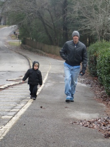 Cold, nasty morning. Here I'm walking with Gabe up to a pioneer house in the neighborhood.