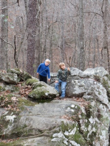 Gabe and Shael. Rock hoping at Moss Rock Preserve - Photo - Jen