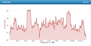 Heart rate graph - 17 April 2013 on the bike at Martins Dairy. The two bumps indicate the intervals through Kaye Paul
