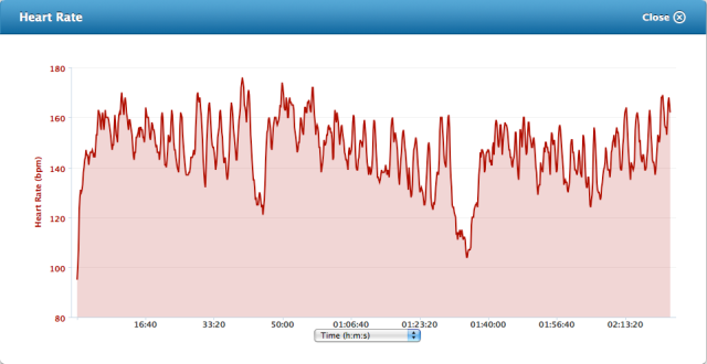 Heart rate for the three laps. I don't think I messed up the watch, but I am still a newbie to Garmin devices.