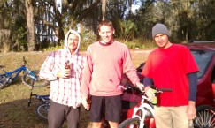 "Left to Right: Christian, Steven and Mr. ""F""-the-injury. Post ride ""Cheers!."